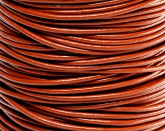 10 Meters of 2MM Brown Round Leather Cord (10 Yards) (10m)