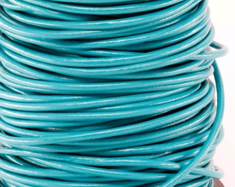 50 Meter Spool of 3MM Turquoise Round Leather Cord (50 yards) (50m)