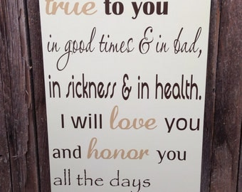 """Wedding Vows Anniversary Gift Wood Sign 12"""" x 20"""" Marriage Custom Personalize First 5th Fifth Anniversary"""