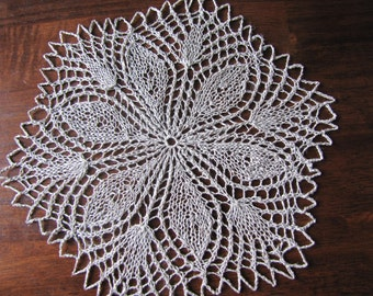 "10"" handmade linen knitted lace placemats for table decor - ready to ship"