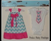 Matching Brother and Sister Outfit Set in Blue Chevron and Pink