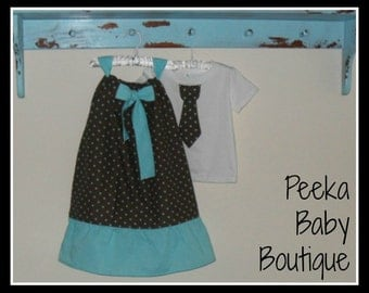 Matching Brother Sister Outfit Set in Brown with Blue Polka Dots