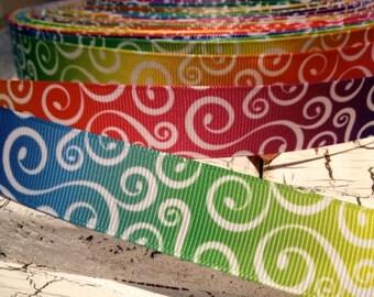 "7/8"" RAINBOW Colors LOOP Swirl Grosgrain Ribbon sold by the yard"