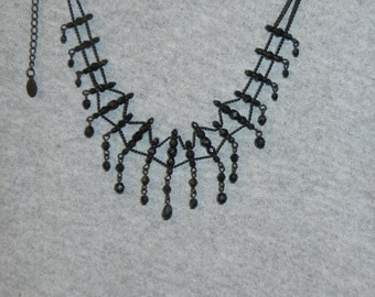 Vintage Black Beaded Necklace  16 inches in length