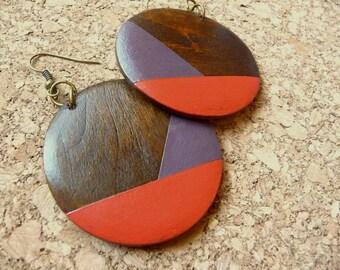 Wood Earrings Hand Painted Pendant Wood Earrings, Bright Red & Purple Colorful Earrings, Statement Earrings, Circular Mod Geometric Jewelry