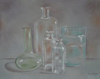 Antique Chemistry Glassware Fine Art Print of Original Acrylic  Painting