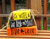 A witch and her little monsters live here-handmade blocks