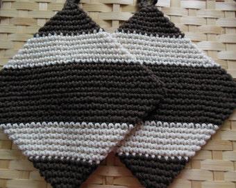 100% Cotton  Crocheted Pot Holder/Hot Pad Set of 2