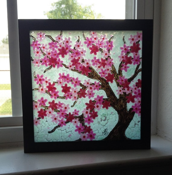 Pink Cherry Blossom Tree, faux stained glass