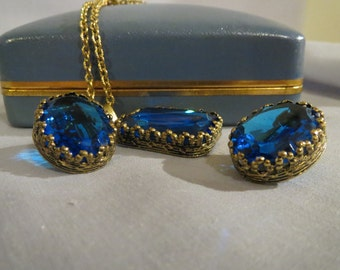 CLEARANCE Art Deco Cobalt Blue Simmons Necklace and Earring Set in Original Box