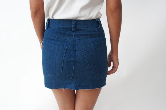 high waist blue denim skirt