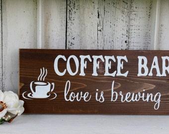 COFFEE BAR love is brewing Self-Standing Rustic Wedding Sign 5 1/2 x 14