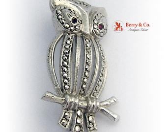 Vintage Owl Brooch Sterling Silver Germany