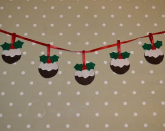Handmade felt Christmas pudding garland