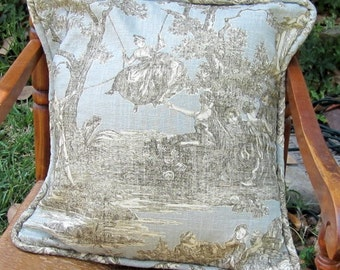 Toile Pillow Cover with Piping