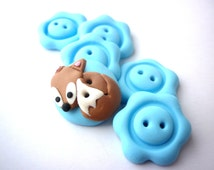 Fox buttons - cute fox and light blue flower shaped buttons handmade with polymer clay