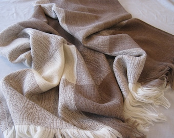 Alpaca and Merino Wool Throw Blanket - Our Sand Throw is All Natural & All Season