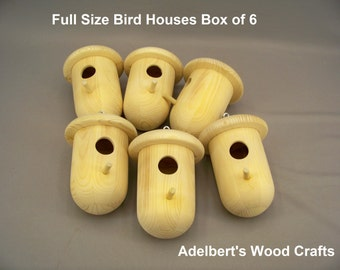Full size bird house Artisans special box of 6 unfinished houses.