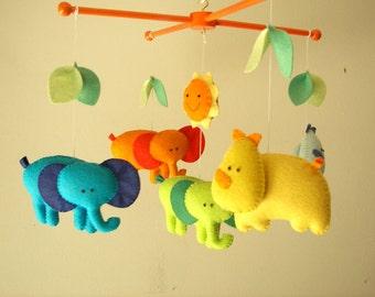 "Baby crib mobile, safari mobile, animal mobile, felt mobile, elephant mobile ""Tropical Jungle "" - Elephant, Rhino"