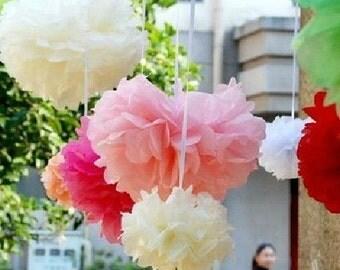 50pcs 12inch Tissue Paper Ball Wedding Decoration Pom Poms Party Birthday Bridal Flower Ball Celebration Gift wholesale