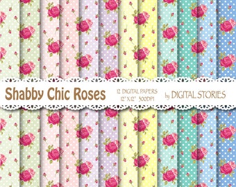 "Shabby Chic Digital Paper: ""DOTS PINK ROSES"" Floral background with roses for scrapbooking, invites, cards"