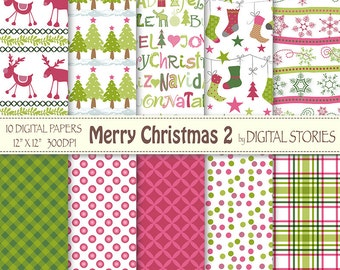 "Christmas Digital Paper: ""MERRY CHRISTMAS 2"" Scrapbook paper with Christmas elements for invites, cards, gift wrapping"