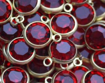 6 Swarovski Siam Ruby Channel Set Stones | Raw Brass Setting | 9 mm Crystals | Red Crystals