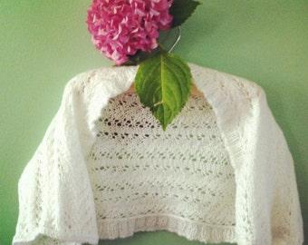Hand knitted white lacy romantic  shrug/ bolero/ cardigan  girl 6-8 years old