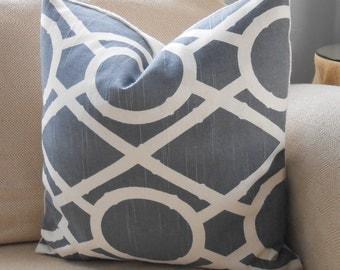 Burlap Pillow Cover in Lattice Bamboo Greystone and White Sultana Burlap