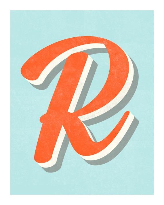 The Letter R Original Art Print Typography Alphabet