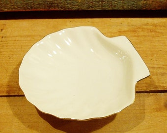Vintage White Shell Dish with Gold Trim