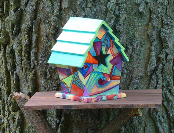 Abstract Bird House Hand Painted Birdhouse Ooak Birdhouse