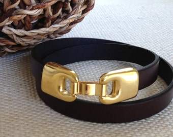 Double Wrap Chocolate Brown Leather Bracelet, Wrap Bracelet,  Leather Bangle, Women's Leather Bracelet, Brown and Gold Bracelet, Gold Clasp