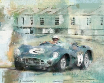 Going for Glory, Stirling Moss in the Aston DBR1 at Goodwood : Limited edition print.