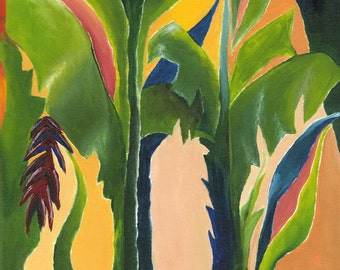 Tropical Wall Art, Contemporary Home Decor Green Painting, Still Life, Green Art, Giclee of Original Acrylic Canvas Title: Mixed Bananas 1b