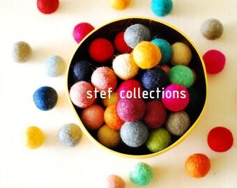 Felt Balls x100 Mixed Colours. 2cm. Wool. Colourful beads. Multicolour. Bulk. Felt Ball beads. Felt Balls Supplies