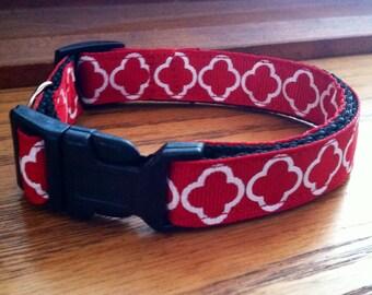 Tiny Dog Collar- Red Geometric