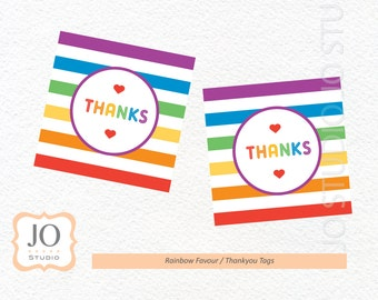 Rainbow Themed Favour Tags / Thankyou Tags / Rainbow Party - INSTANT DOWNLOAD