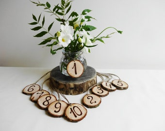 Table Numbers, Wood Table Numbers, Tree Slice Table Numbers, Rustic Decoration, Wedding Decoration, Rustic Table numbers