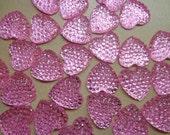 Pink Gem Heart Flat backs  (Lot of 10)