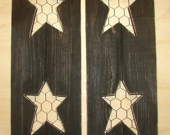 """Decorative wood rustic shutters with  stars and chicken wire.  24"""" high and 7"""" wide, many colors"""