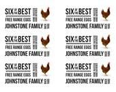 A4 size PDF version of half dozen egg carton labels, personalised