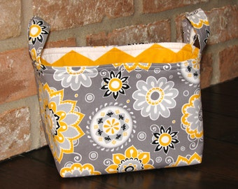 Organizer Bin/Basket - yellow and gray floral
