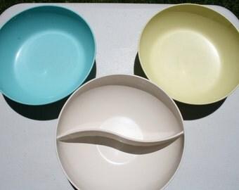Three Stetson Melmac and Texas Ware Bowls