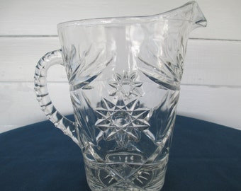 Vintage Clear Glass Beverage Barware Pitcher Star Of David Pattern Anchor Hocking Collectible Glassware Glass Drinkware Barware Pitchers