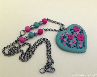 Polymer Clay Necklace -  Spring Garden clay necklace - flowery necklace - heart necklace