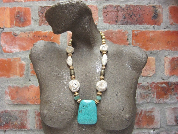 Pendant Necklace, Statement Necklace, Occasion Necklace, Handmade by South African artist Yoka Wright using African Clay Beads #184