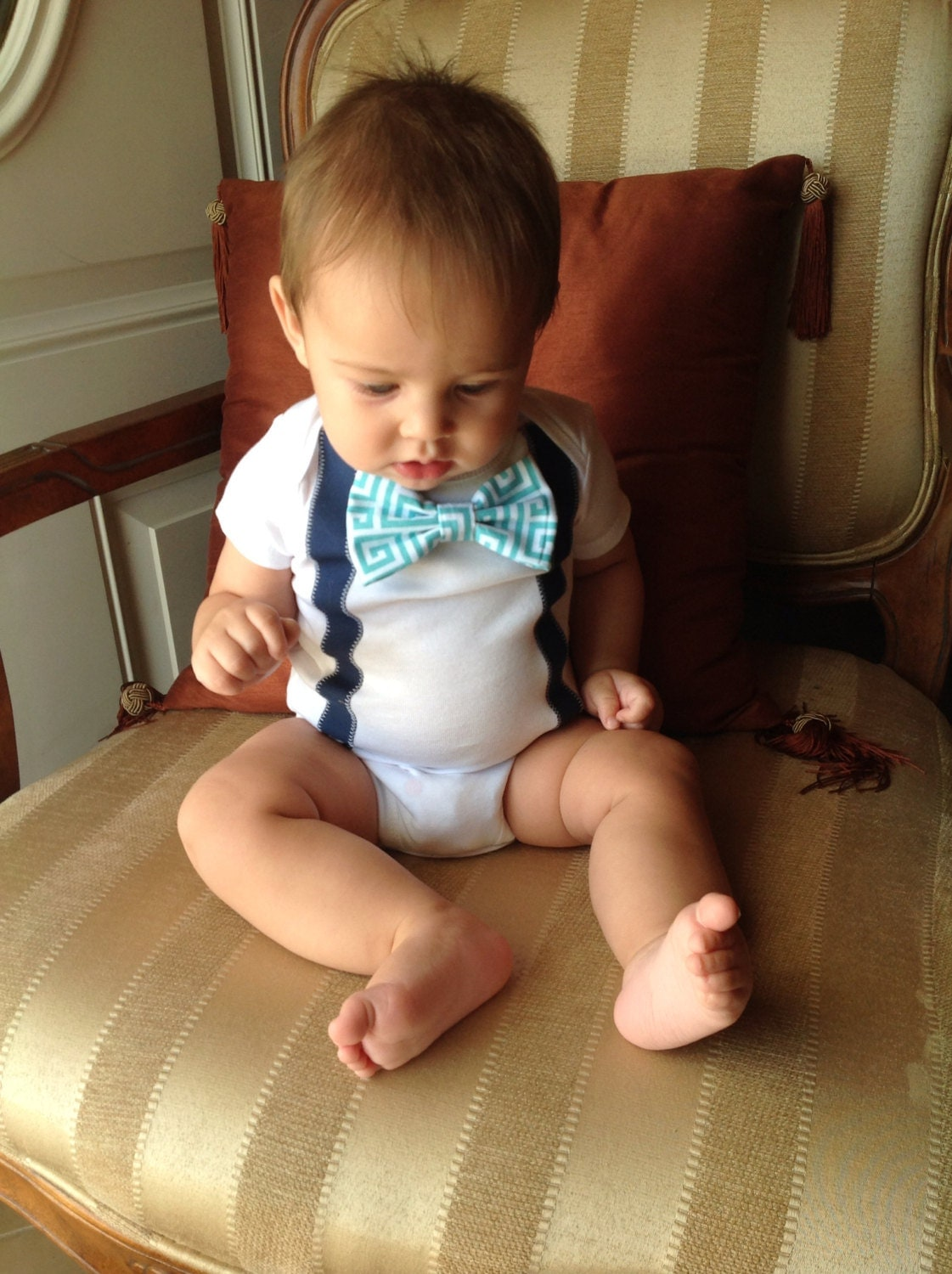 Baby boy onesie w/ suspenders and velcro bow by ...