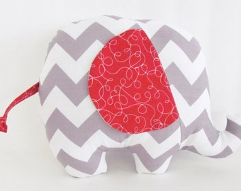 Gray Chevron and Red Stuffed Elephant Baby Toy Pillow, Nursery Pillow Decor, Photography Prop