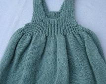 Muted Green Jumper with Bunny Buttons – Hand Knit – size 3/6 mos